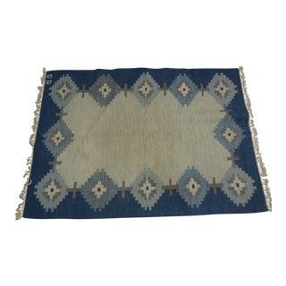 Vintage Swedish Flat Weave Rug For Sale