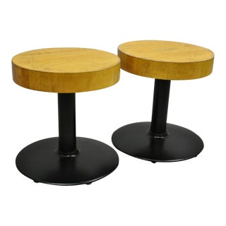 Vintage Mid Century Round Butcher Block Wood Industrial Cast Iron Pedestal Stools- A Pair For Sale
