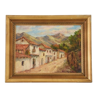 Early Vintage Italian Mediterranean Village Oil Painting