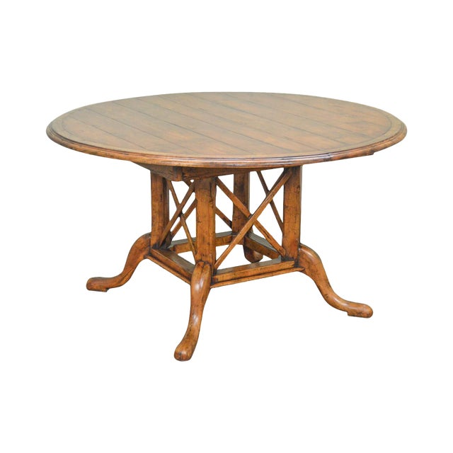 Guy Chaddock Kettering Round Pedestal Dining Table W Leaves - Round dining table with 2 leaves