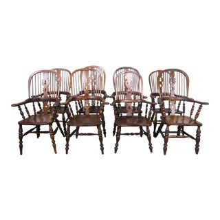 Set of 19th C. Eight English Windsor Armchairs