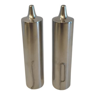 Danish Modern Stainless Salt & Pepper Shakers For Sale