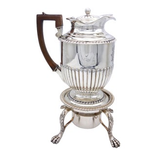 George III Sterling Silver Coffe Pot on Stand For Sale
