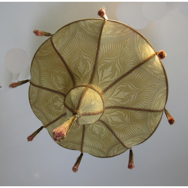 Art Deco Fortuny Style Art Deco Fabric Chandelier For Sale - Image 3 of 13