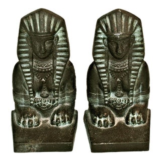 1920s Sphinx Art Deco Egyptian Revival Bookends - A Pair