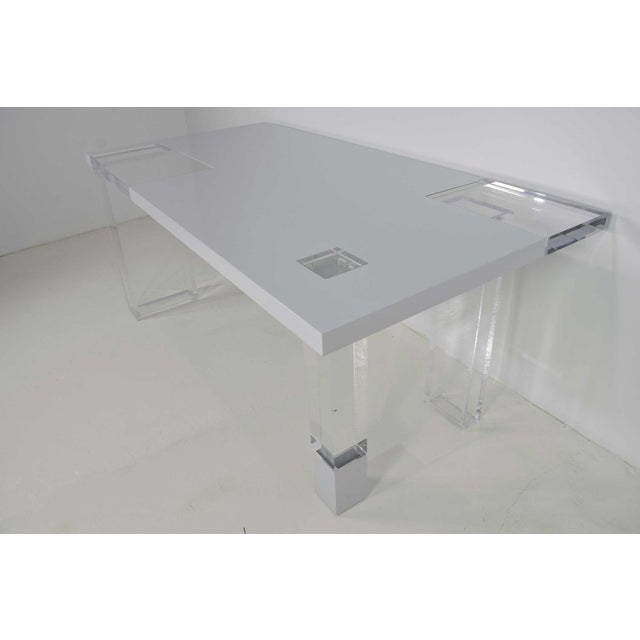 Contemporary Lucite & White Lacquer Desk For Sale - Image 4 of 10