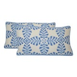 Image of Thibaut Starleaf Blue Pillows - a Pair For Sale