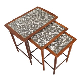 Danish Modern Set of Teak + Tile Nesting Tables - 3 Pieces For Sale