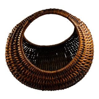Vintage Dark Wicker Circular Gathering Basket For Sale