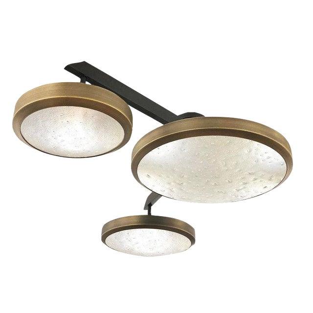 "Gaspare Asaro FormA ""Zeta"" Black Bronze Edition Ceiling Light For Sale"