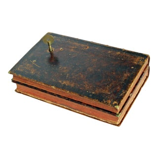 Leather Bound Book Key Wind Music Box For Sale