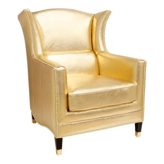 Pasargad Home Vicenza Collection Leather Wing Back Chair For Sale