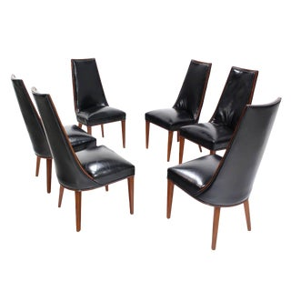 Set of Six Tall Back High Quality Leather Dining Chairs For Sale