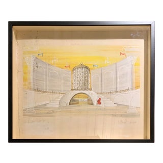 1960s Framed Watercolor Stage Rendering of Titus Andronicus by William Simmons For Sale