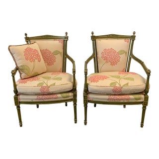 Italian Upholstered Arm Chairs- A Pair For Sale