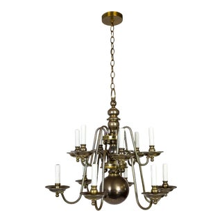 Dutch Baroque Style 2-Tier Aged Brass 12-Light Chandelier For Sale
