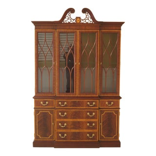 1990s Federal Councill Craftsmen Highly Inlaid Mahogany Breakfront China Cabinet For Sale