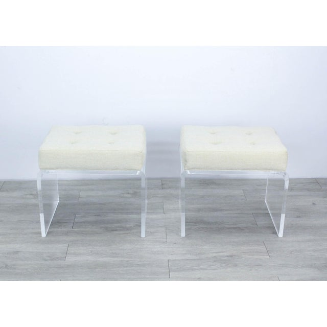 Contemporary Pair of Cream Waterfall Lucite & Chenille Benches For Sale - Image 3 of 8