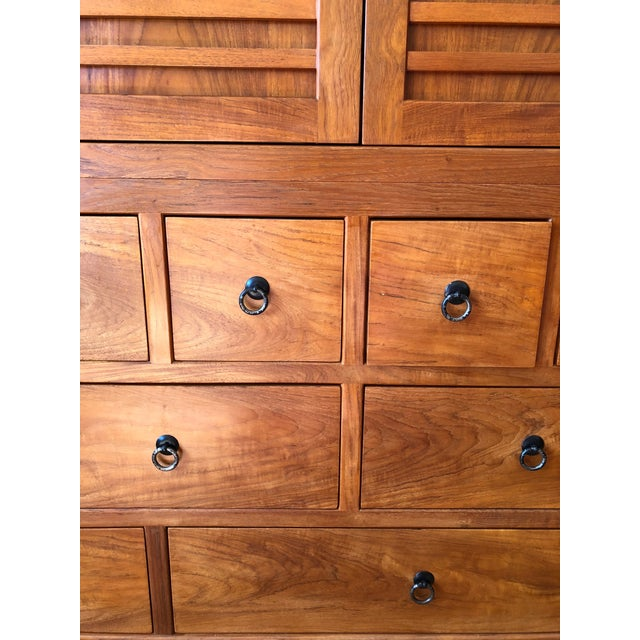 Solid Cherry Wood Japanese Tansu For Sale - Image 4 of 6