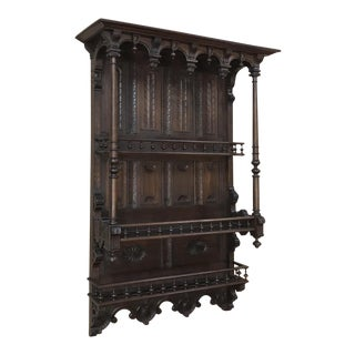 19th Century French Henri II Walnut Wall Shelf For Sale