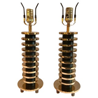 Pair of Brass and Metal Disk Shaped Mid-Century Modern Table Lamps For Sale
