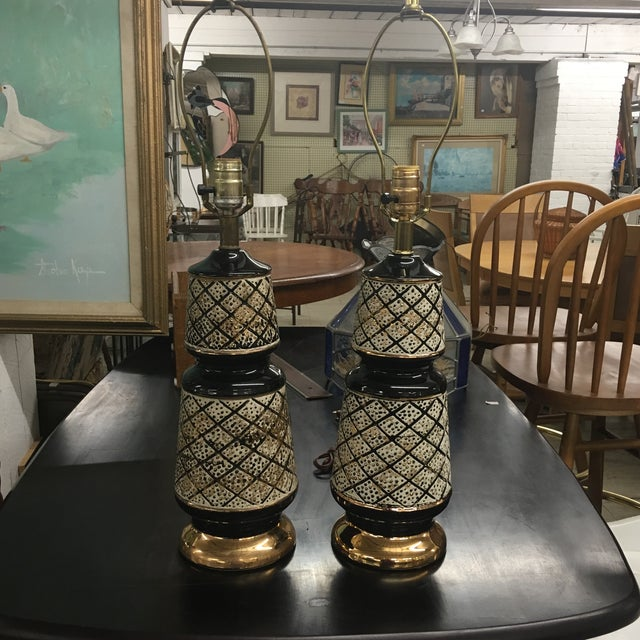 Vintage 50's Ceramic Lamps -Pair For Sale - Image 13 of 13