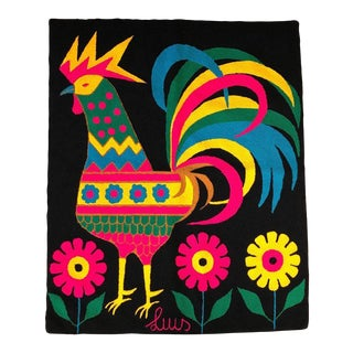 Mid-Century Colorful Rooster Tapestry by Luis Montiel For Sale