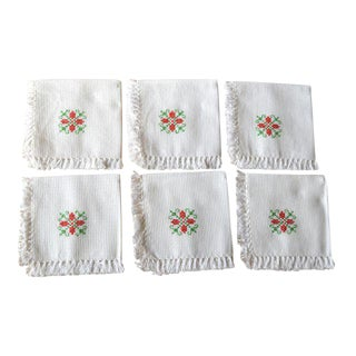 Hand Embroidered Fringed White Cotton Cocktail Napkins - Set of 6 For Sale