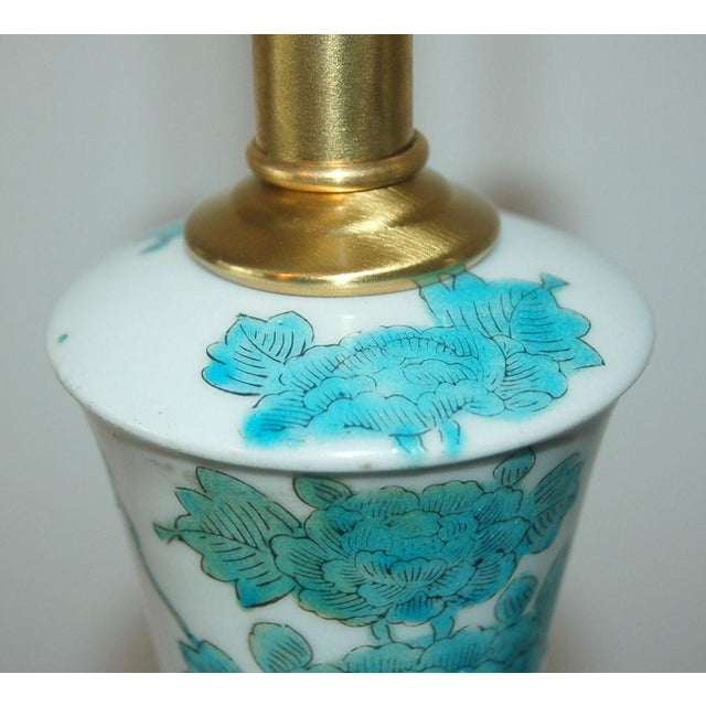 The Marbro Lamp Company Marbro Italian Porcelain Table Lamps Aqua For Sale - Image 4 of 9