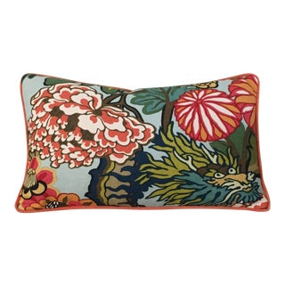 Schumacher Chiang Mai Dragon Aquamarine Pillow For Sale