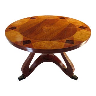John Widdicomb for Baker Furniture Art Deco, English Regency Round Mahogany & Burl Center/Dining Table For Sale