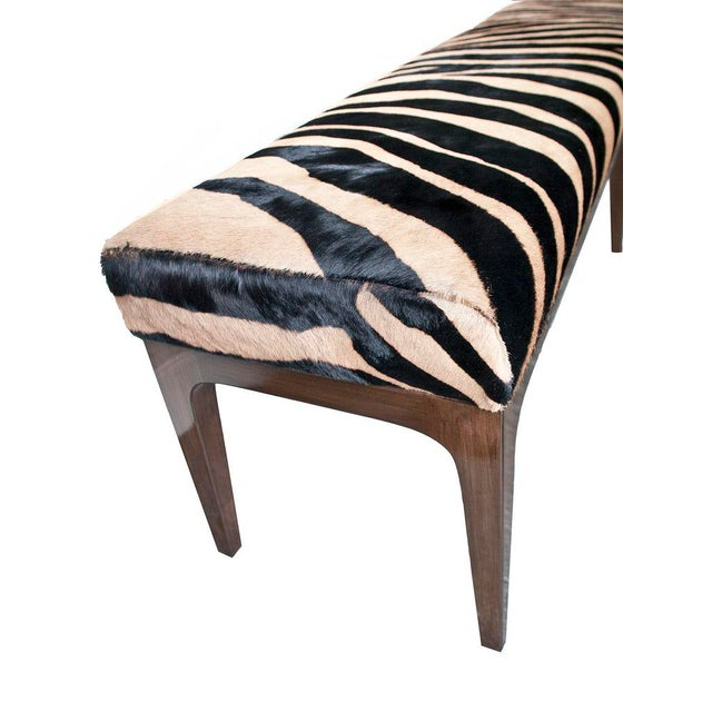 Not Yet Made - Made To Order Walnut Bench With Zebra Stencil Cowhide Upholstered Seat For Sale - Image 5 of 7