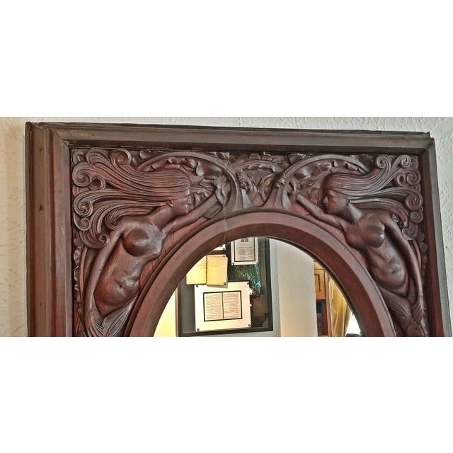 19c American Dark Walnut Wall Mirror With Mermaids - Important For Sale - Image 10 of 12