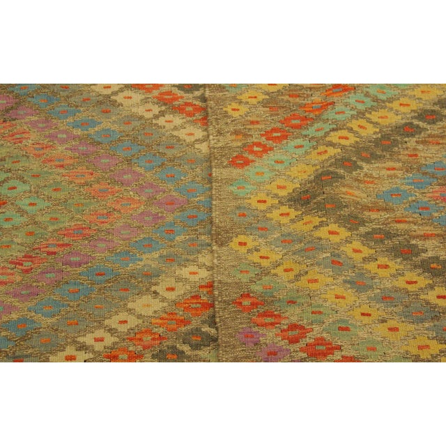 Textile Contemporary Tribal Edgardo Gray/Blue Hand-Woven Kilim Wool Rug -6'9 X 9'7 For Sale - Image 7 of 8