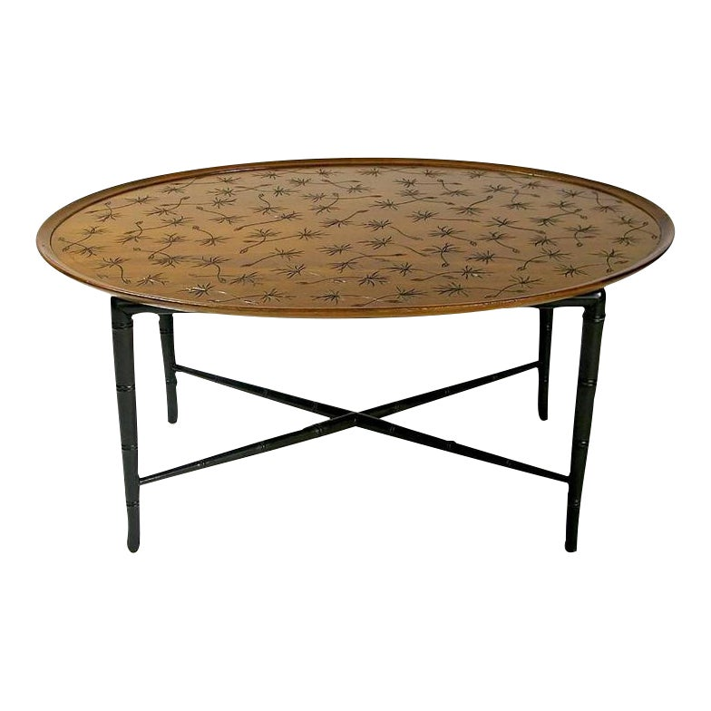 Lovely Kittinger Tray Coffee Table With Incised Thistledown Design Decaso