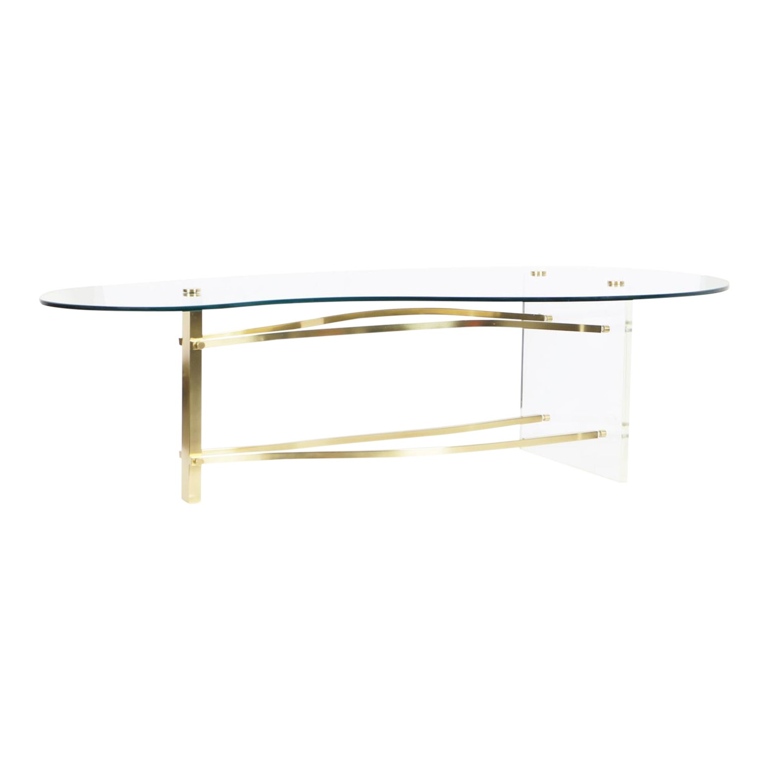 1970s Vintage Brass And Lucite Kidney Shaped Coffee Table Chairish