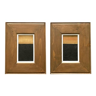 """Abstract Black and Gold Original Artwork """"Aurora 1 & 2"""" by Jeb Knight - a Pair For Sale"""