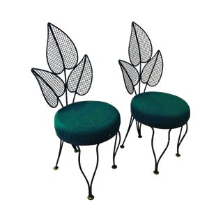 Mid Century Modern Salterini Palm Wrought Garden Chairs- a Pair For Sale