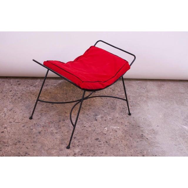 1950s Mid-Century Modern Iron Footstool / Ottoman For Sale - Image 5 of 12