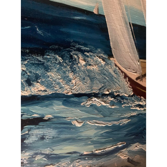 Americana Sailboat Large Framed Oil Painting, by R. Morrow For Sale In Denver - Image 6 of 11