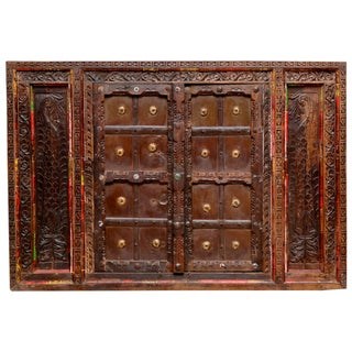 Vintage Carved Teak Window For Sale