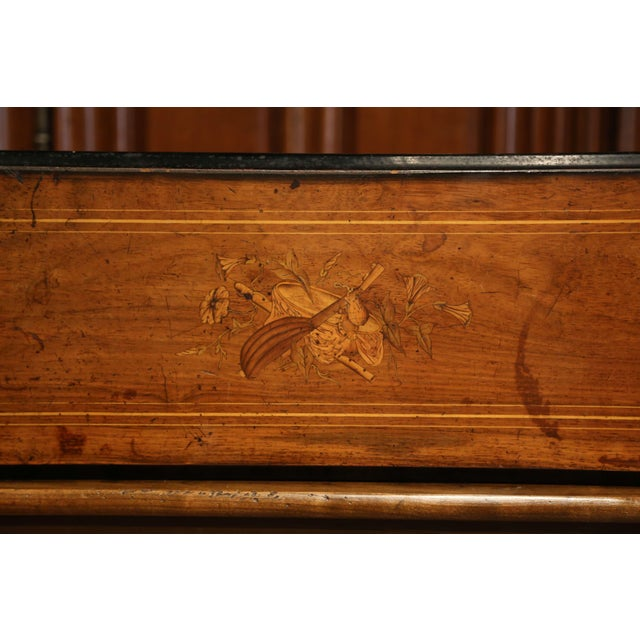 Large 19th Century Swiss Inlaid Walnut Cylinder Zither Music Box With 12 Songs For Sale - Image 9 of 11