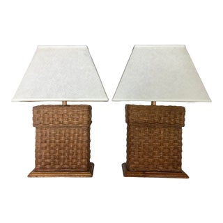 "Vintage ""Natural Light "" Rattan Lamps/2 For Sale"