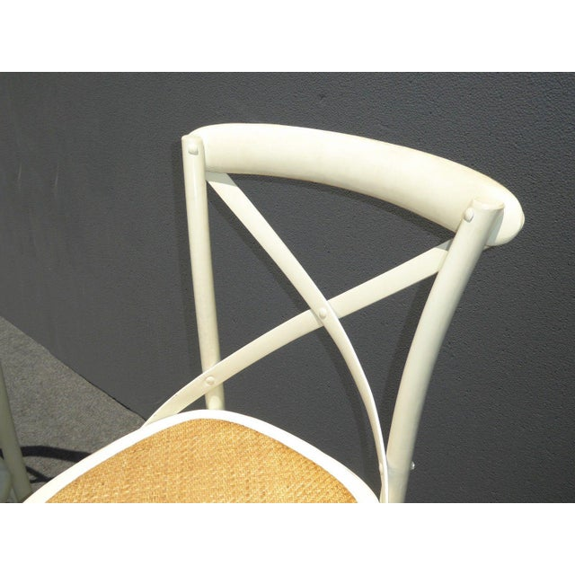 Antique White Vintage French Country White Rye Seat Bar Stools - A Pair For Sale - Image 8 of 11