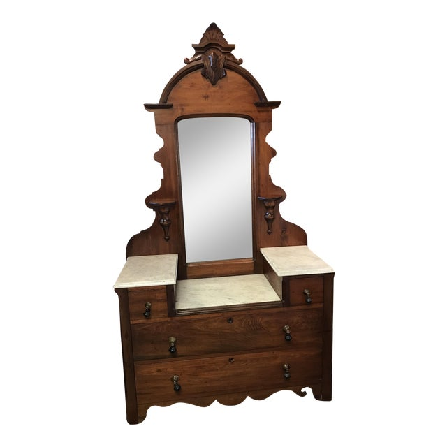 Victorian Marble Top Vanity with Carved Crown & Tear Drop Pulls For Sale