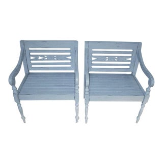 Shabby Chic Cottage Style Light Blue Wood Accent Garden Chairs - a Pair For Sale