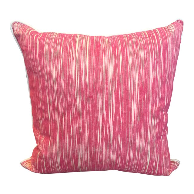 Down Pink Striped Pillows - A Pair - Image 1 of 5