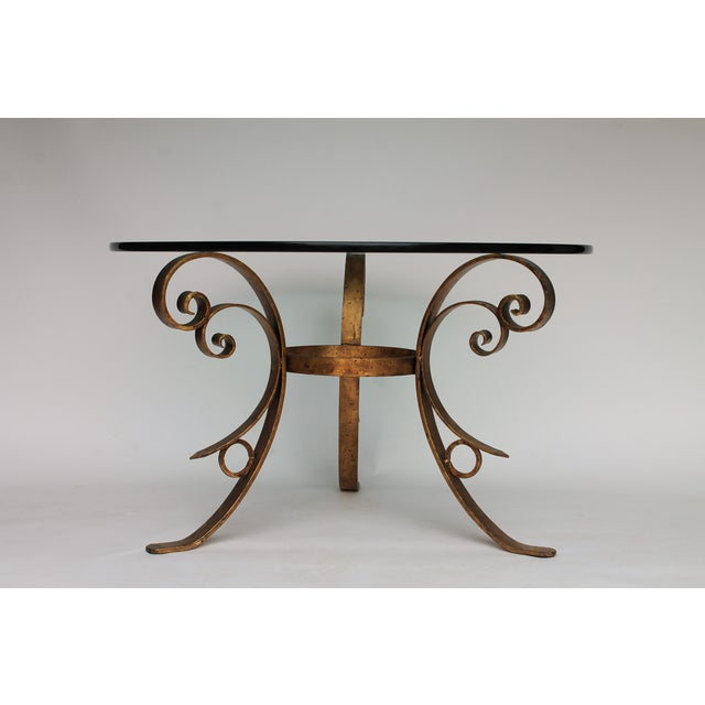 Italian Gilded Scrolled & Glass Dining Table For Sale - Image 3 of 7