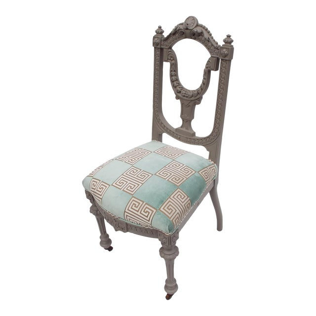 Petite Gray Painted Victorian Desk / Side Chair For Sale