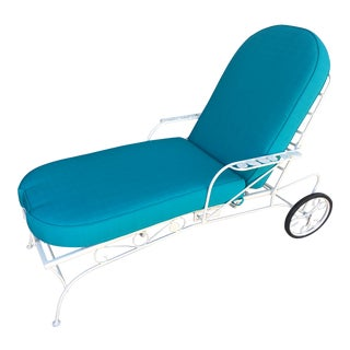 Steel Reclining Outdoor / Patio Chaise Lounge by Woodard For Sale
